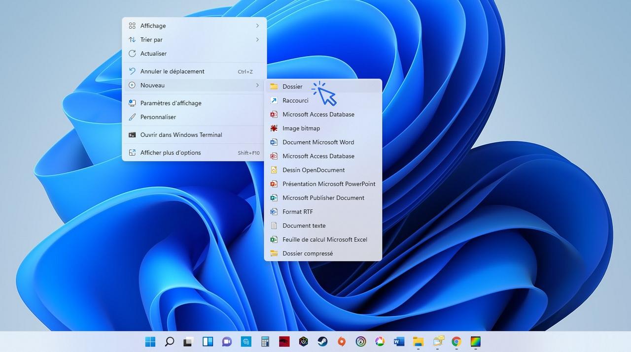 Windows ajouter un dossier sur le bureau